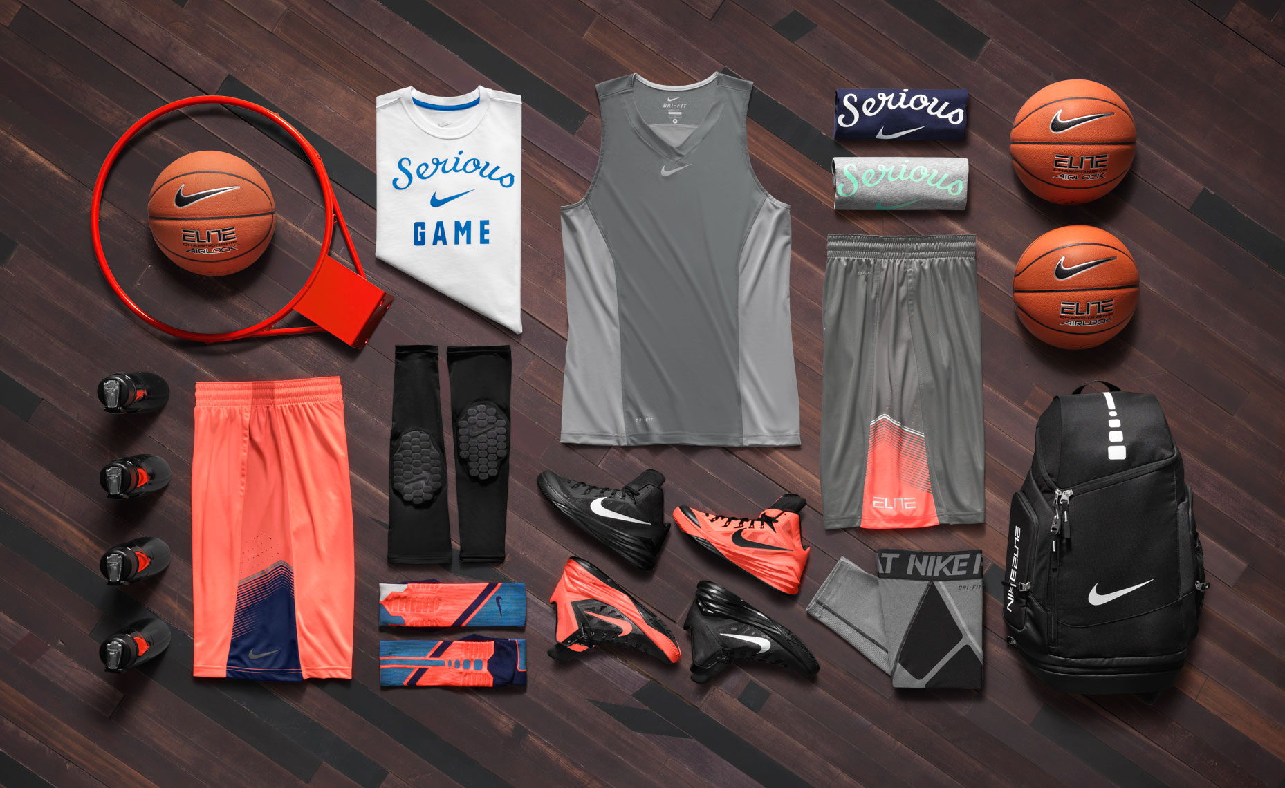 nike kevin durant basketball apparel on a wood backgorund