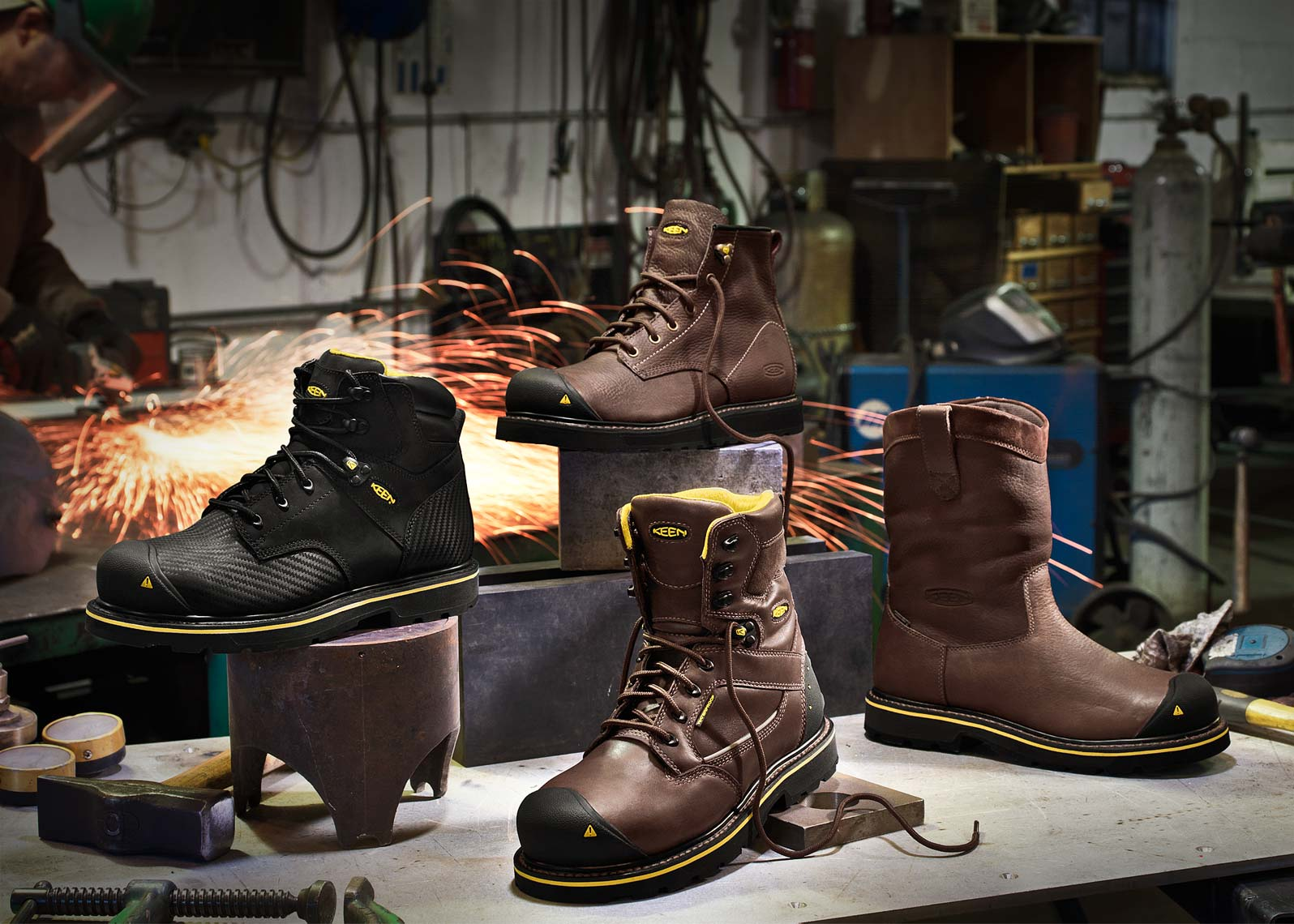 keen boots at welding shop sparks brown