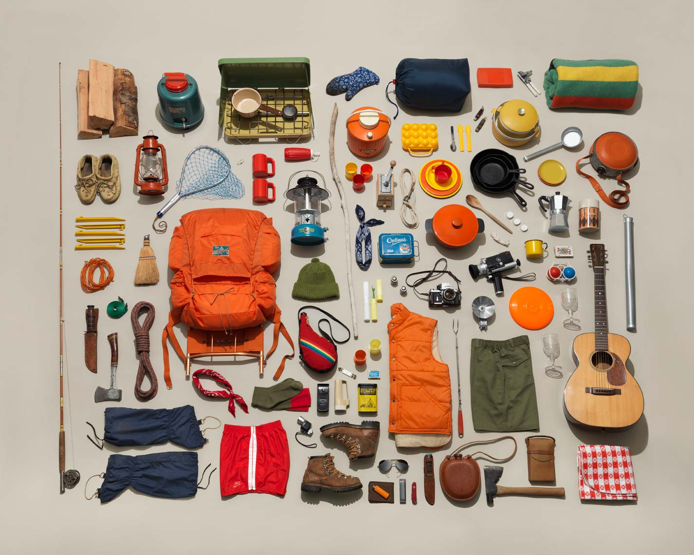 classic camping gear organized neatly