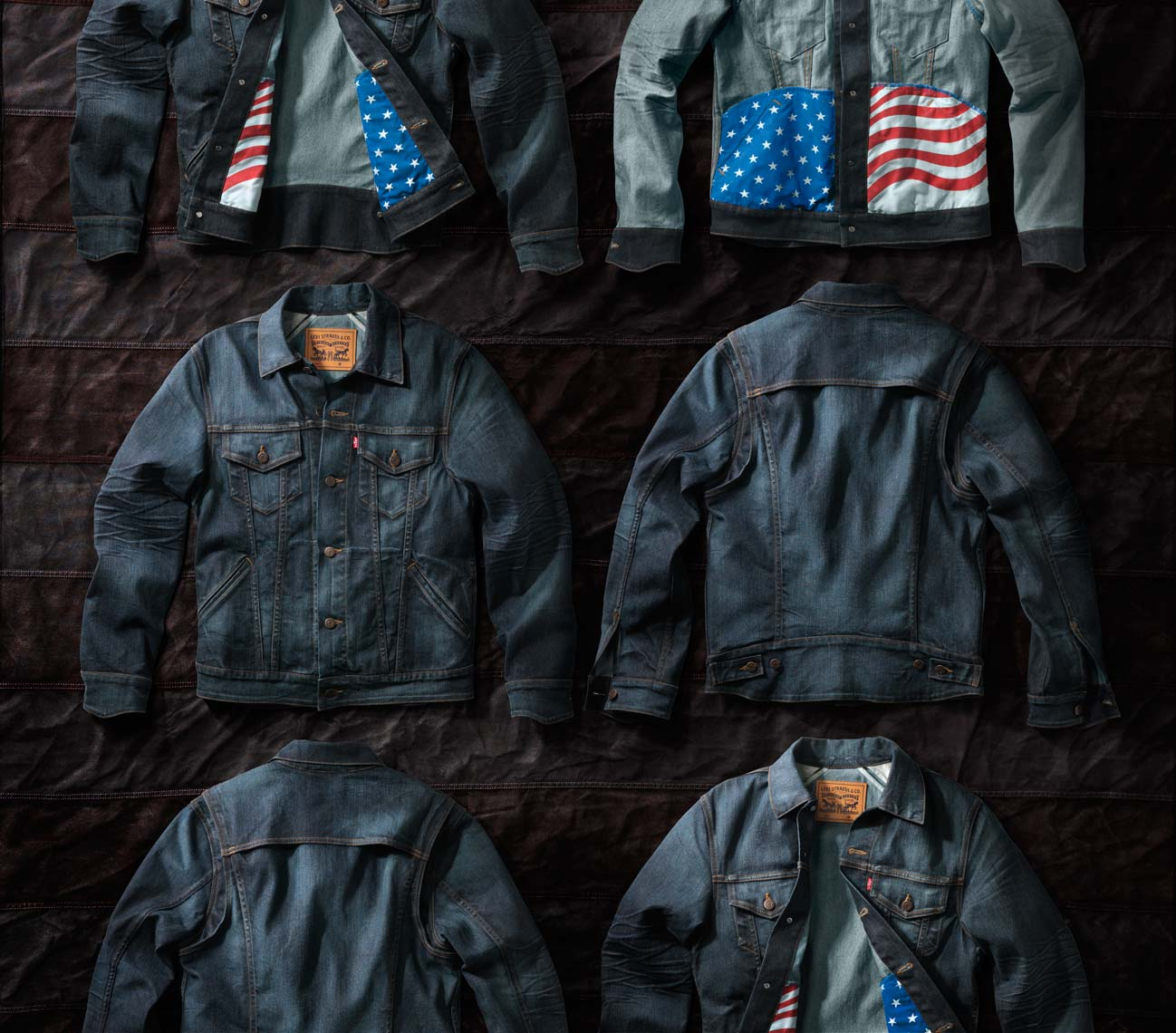 levis denim jackets an old american flag
