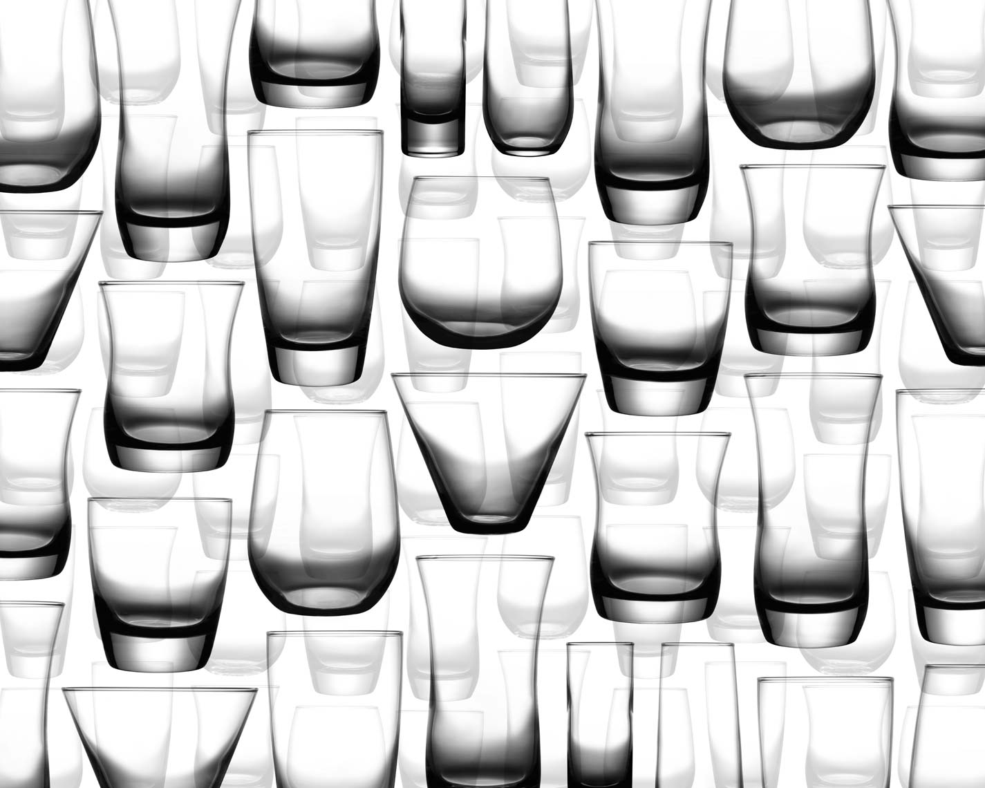 clear glassware in a random pattern