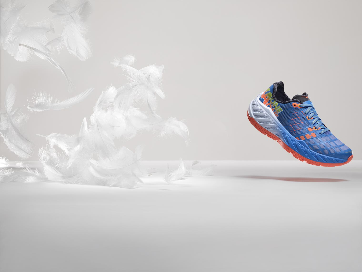 hoka one one light as a feather running shoe