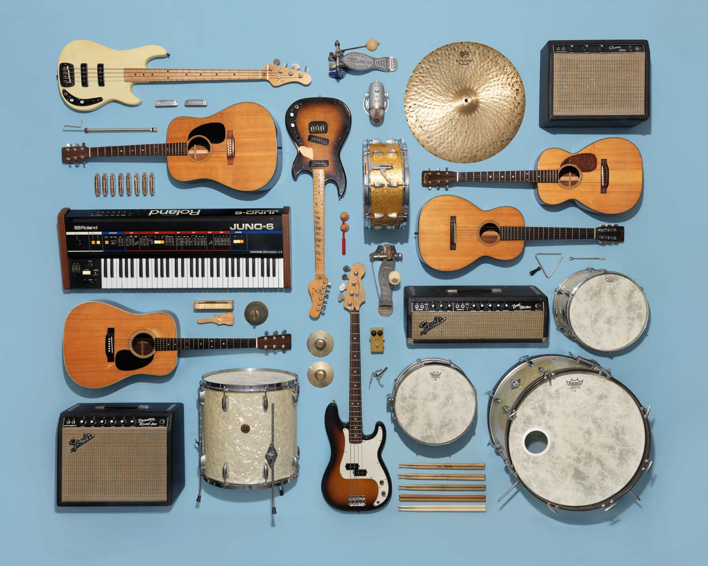 classic instruments arranged on a light blue background