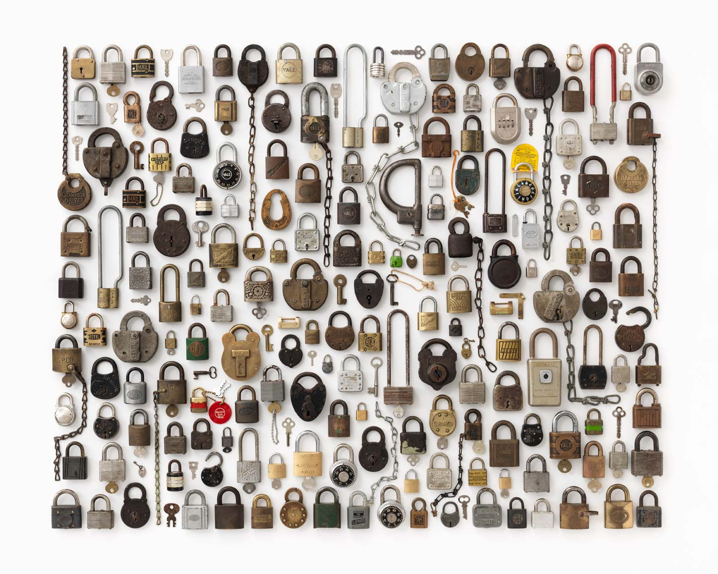giant lock collection organized neatly