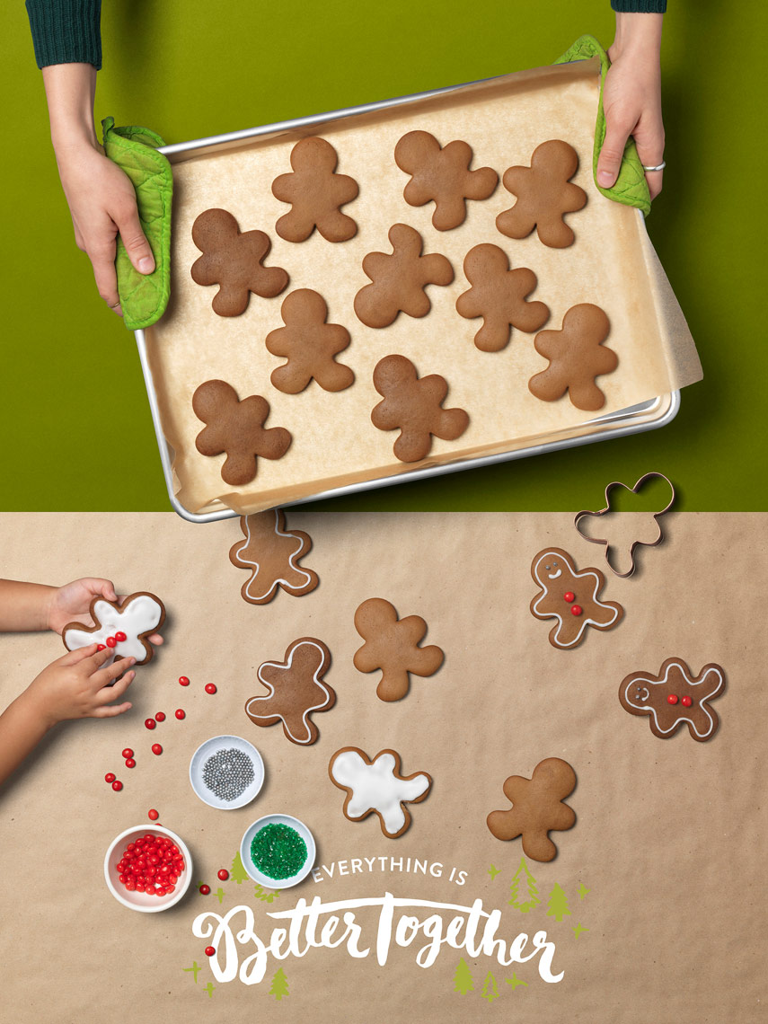 baking holiday cookies with kids