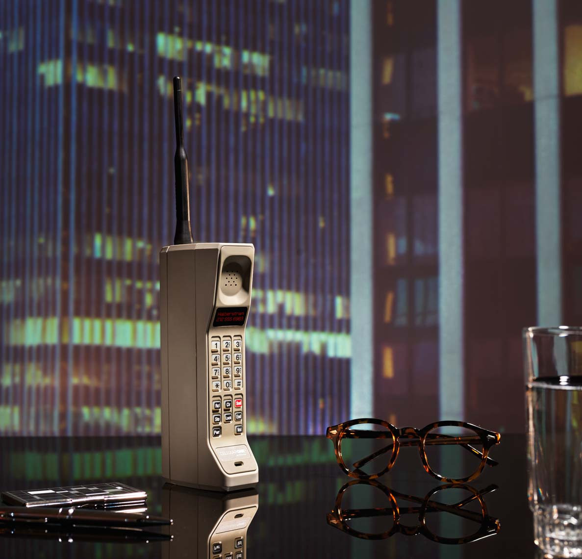patrick bateman office still life brick phone