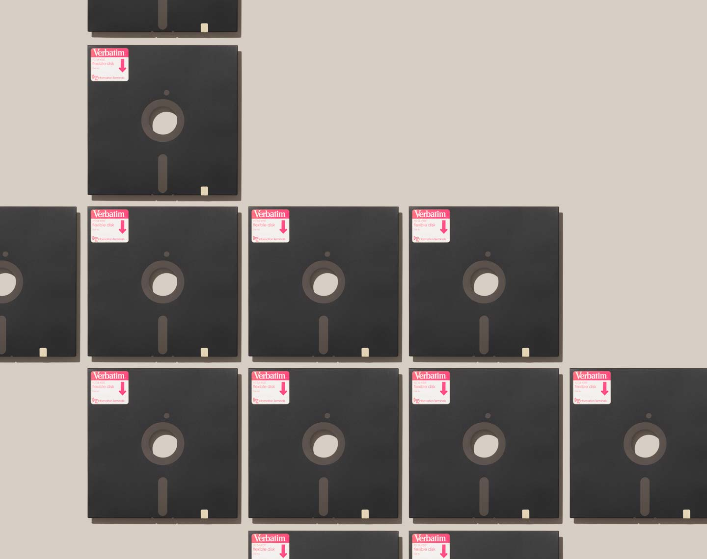 5 1/4 inch floppy disk arranged neatly
