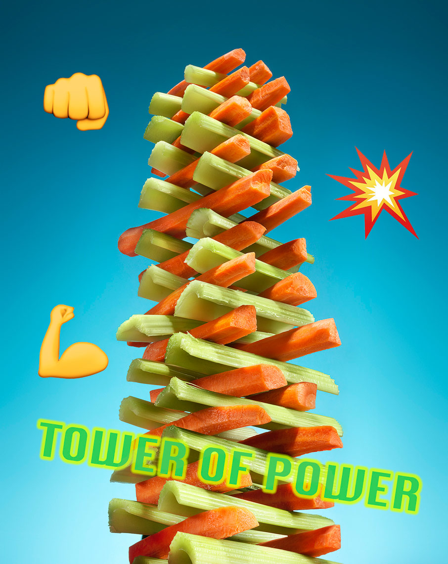 tower of power of celery and carrot sticks