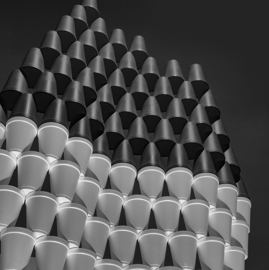 white styrofoam cups in a grid pattern