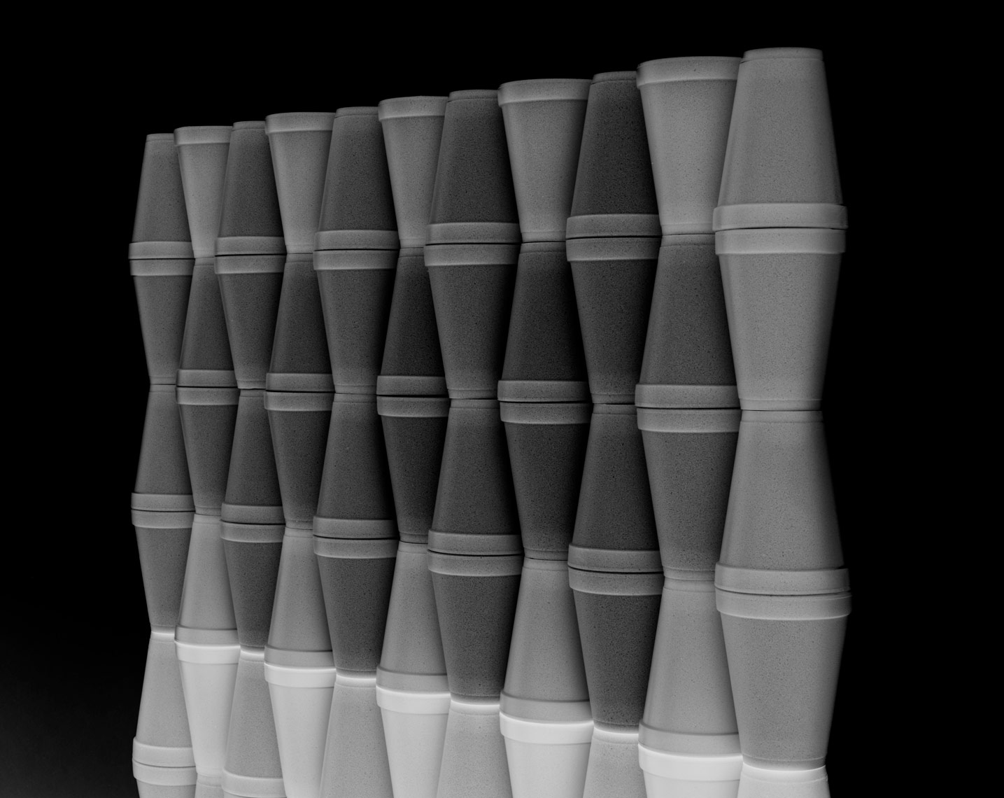 giant stack of foam cups