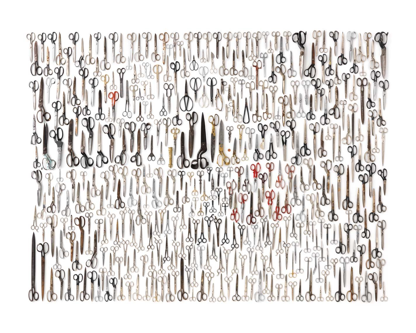 enormous scissor collection on a white background