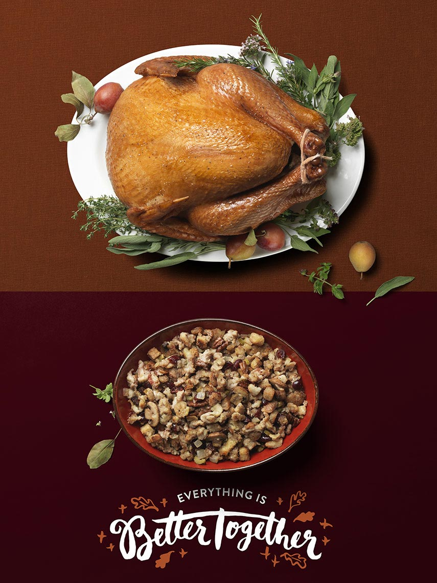 classic holiday turkey with a bowl on stuffing