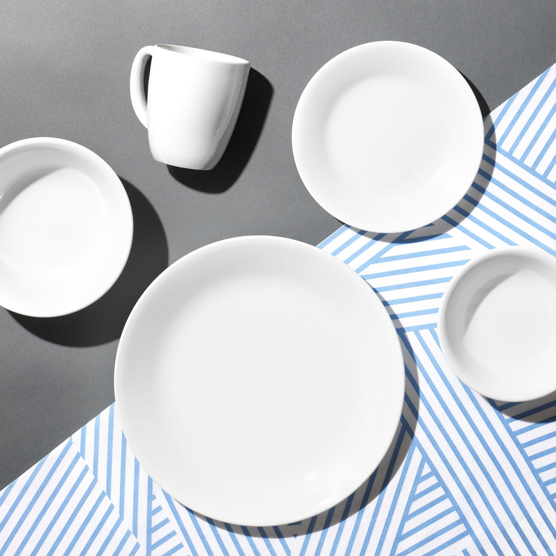 dinnerware on a graphic background