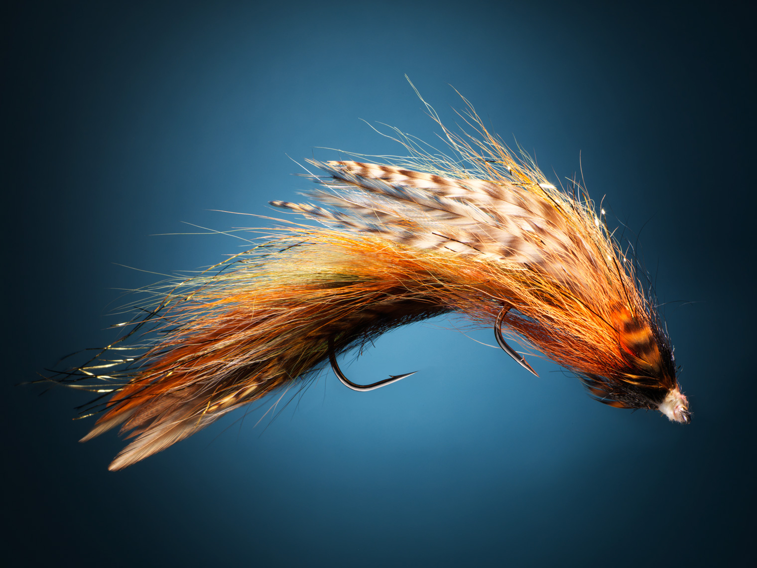 fly fishing jig on a blue background