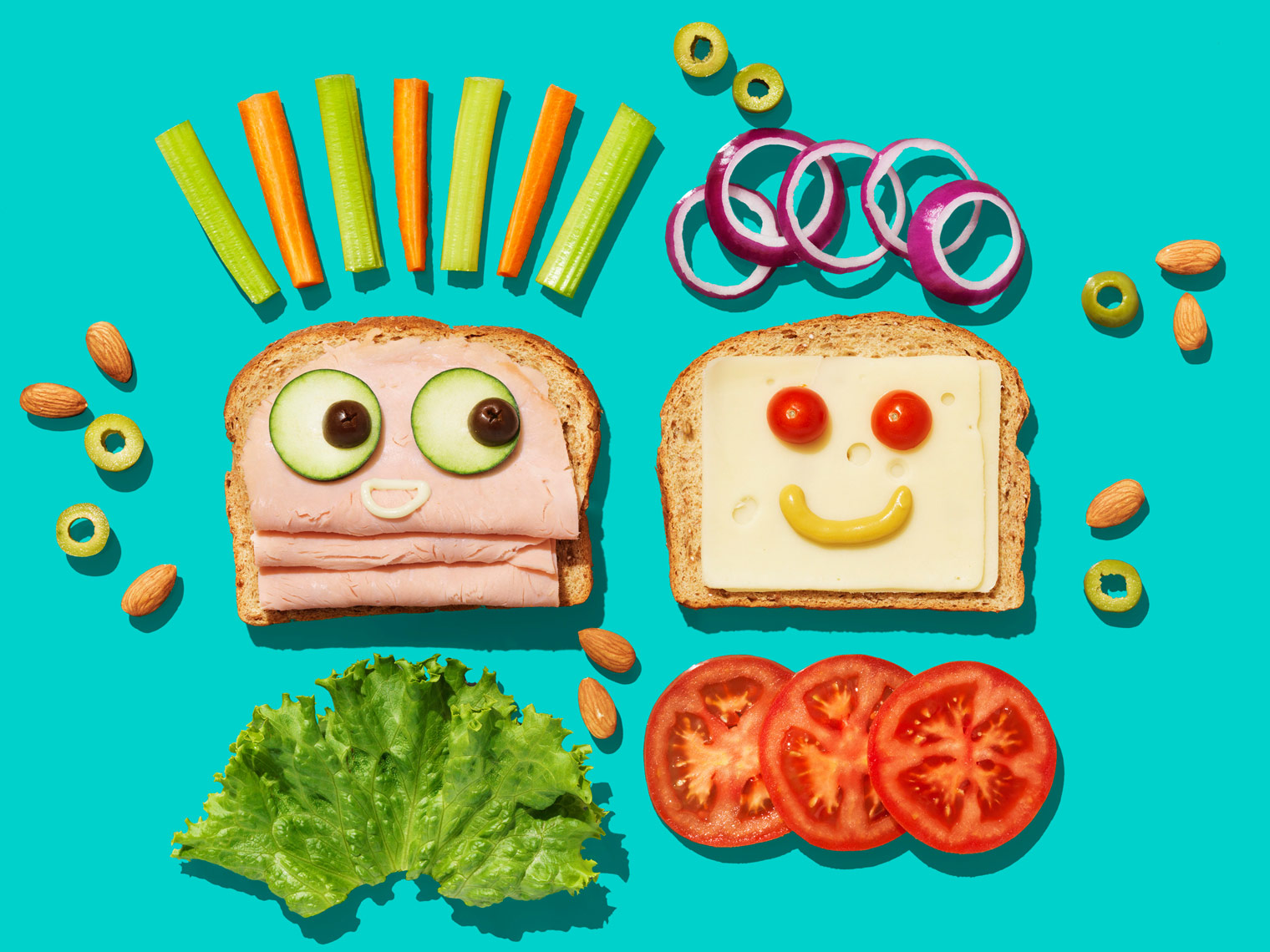healthy school lunches with fruit and veggies