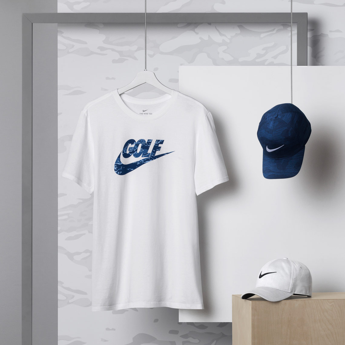 nike golf apparel on white grey camp background