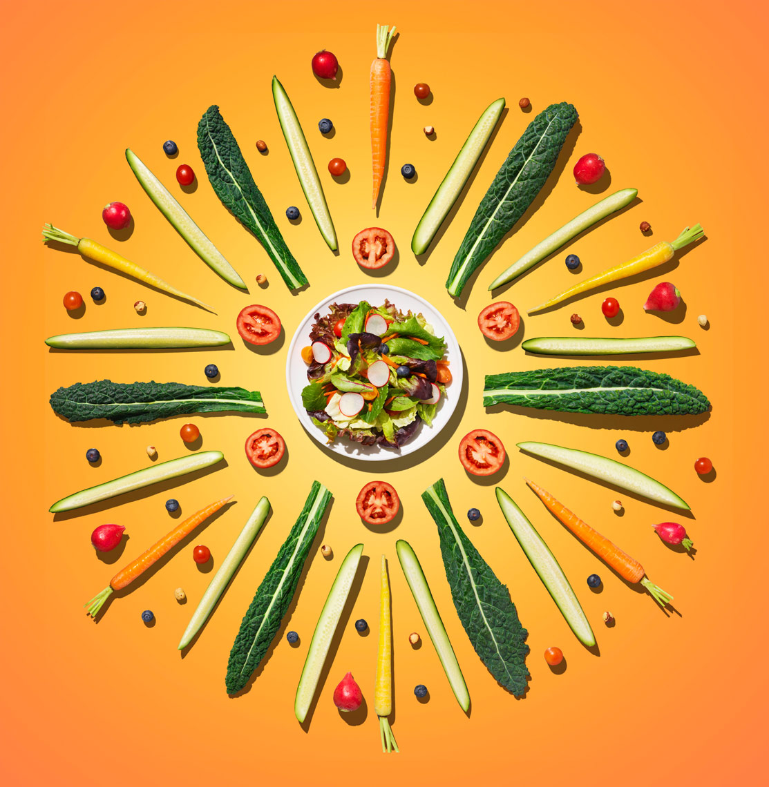 salad vegetables arrange in a round mandala